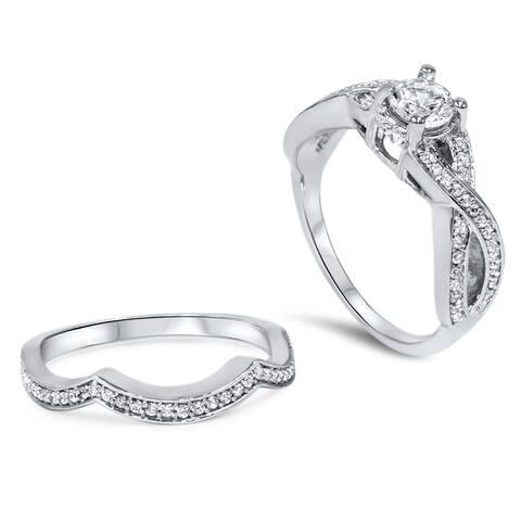 14k White Gold 1 1/10ct TDW Diamond Twisted Shank Bridal Ring Set