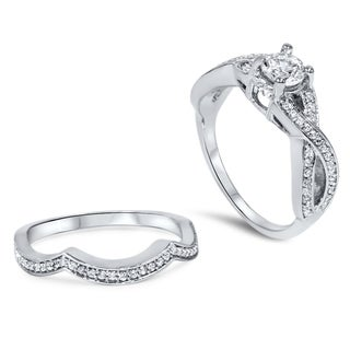 14k White Gold 1 1/10ct TDW Diamond Twisted Shank Bridal Ring Set