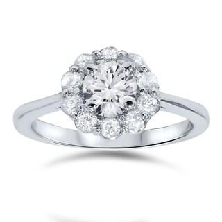 14k White Gold 1 1/2ct TDW Halo Diamond Ring (I-J, I2-I3)