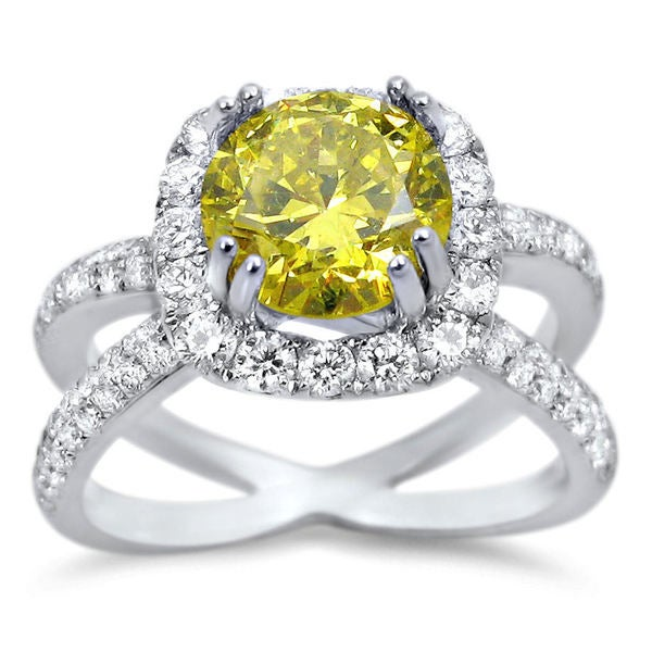 ba89526e1f Noori 18k White Gold 2ct TDW Canary Yellow Round Certified Diamond Ring  (F-G, SI1