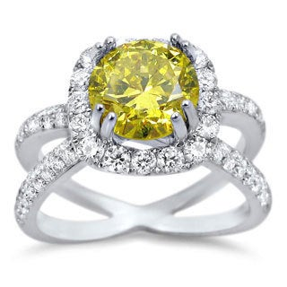 Noori 18k White Gold 2ct TDW Canary Yellow Round Certified Diamond Ring (F-G, SI1-SI2)