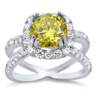 Noori 18k White Gold 2ct TDW Canary Yellow Round Certified Diamond Ring (F-G, SI1-SI2)