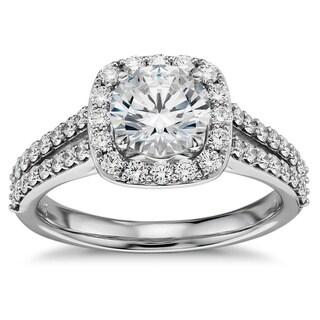 14k White Gold 7/8ct TDW Square Halo Round Diamond Engagement Ring