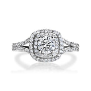 SummerRose 14k White Gold 1ct TDW Diamond Halo Engagement Ring