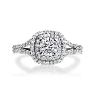 SummerRose 14k White Gold 1ct TDW Diamond Halo Engagement Ring (H-I, SI2-I1)