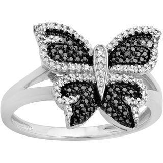 Sterling Silver 1/4ct TDW Black and White Diamond Butterfly Cocktail Ring (I-J, I2-I3)