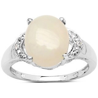 Malaika 1.86 Carat Ethiopian Opal and White Topaz .925 Sterling Silver Ring