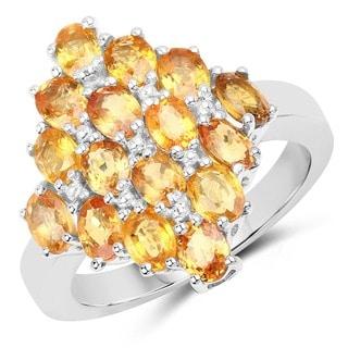 Malaika Sterling Silver 4ct. TCW 16-stone Orange Sapphire Ring