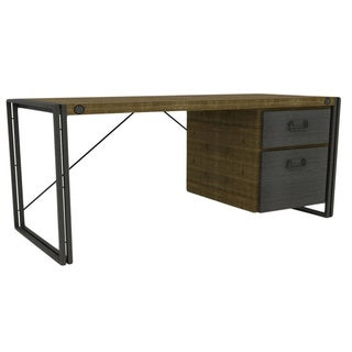 Aurelle Home Industrial Work Desk with Drawers