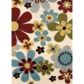 Kelley White Retro-style Accent Rug (1'10 x 3')
