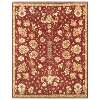 """Grand Bazaar Hand-knotted 100-percent Wool Pile Antolya Rug in Red 5'-6"""" x 8'-6"""""""