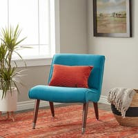 Carson Carrington Mid-century Blue Teal Armless Chair