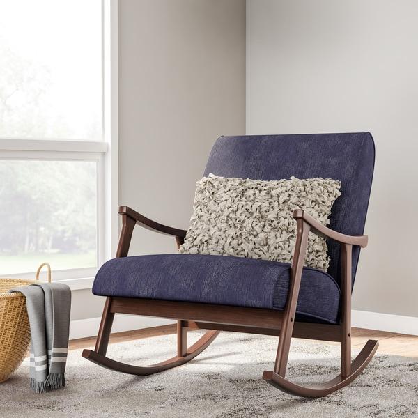 Shop Carson Carrington Retro Indigo Wooden Rocking Chair