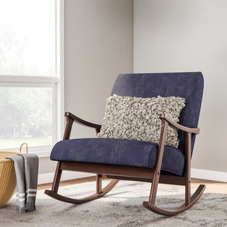 Retro Indigo Wooden Rocking Chair