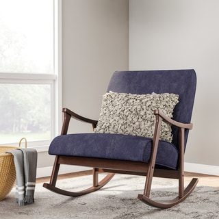 Carson Carrington Retro Indigo Wooden Rocking Chair