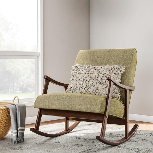 Carson Carrington Mid Century Green Wooden Rocking Chair
