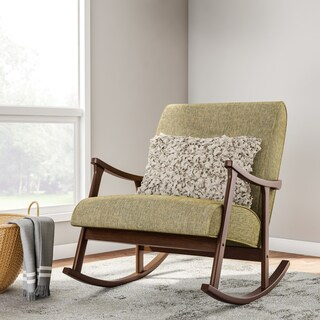 mid century green wooden rocking chair