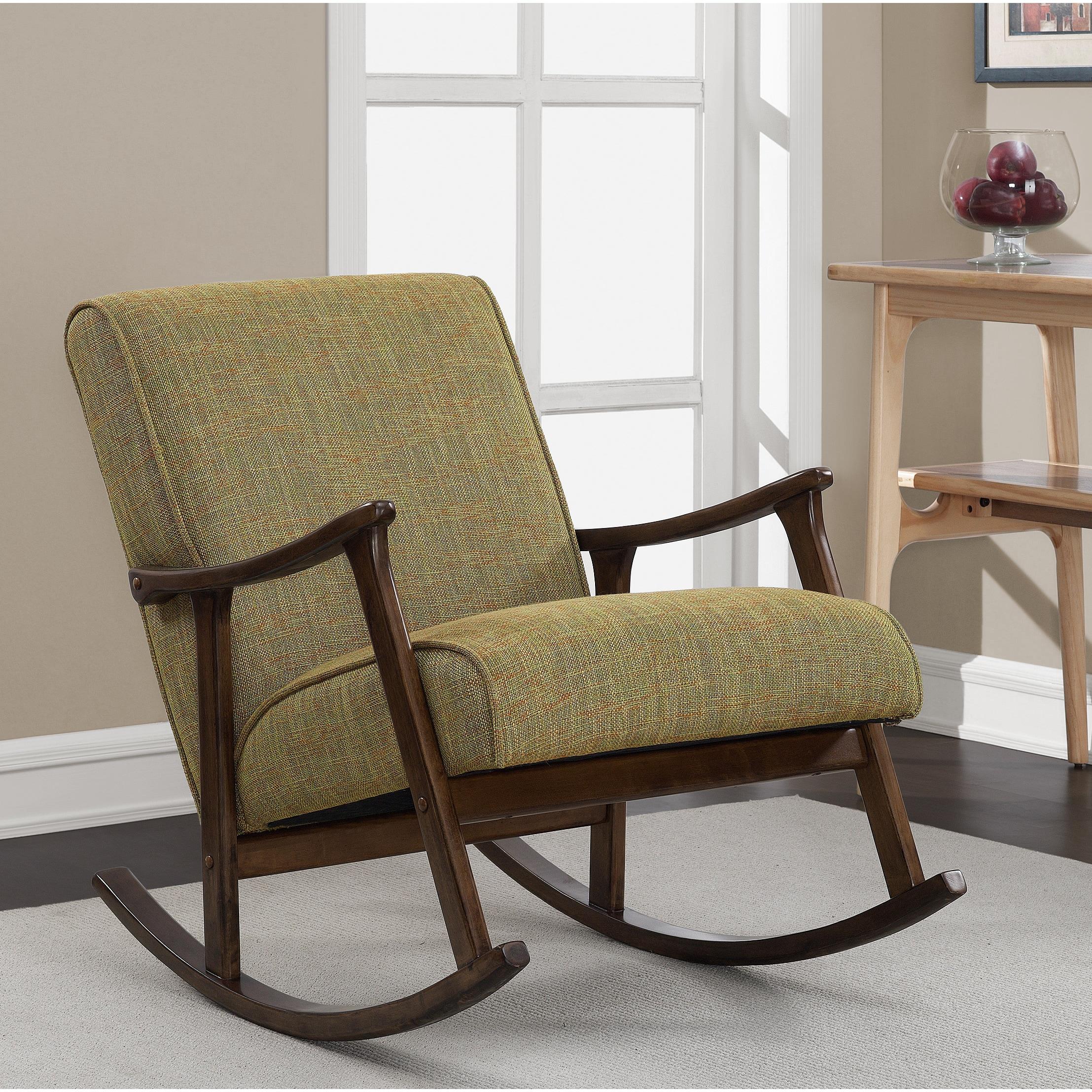 Mid Century Green Wooden Rocking Chair (Retro Wooden Rock...