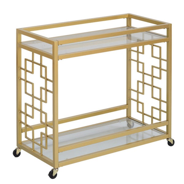 Goldtone Metal Bar Cart   Free Shipping Today   Overstock.com   16979612