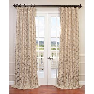 Exclusive Fabrics Meandering Vine Embroidered Faux Silk Curtain