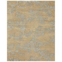 "Grand Bazaar Hand-knotted 100-percent Wool Pile Bodhi Rug in Light Gold 7'-9"" x 9'-9"" - 7'-9"" x 9'-9"""