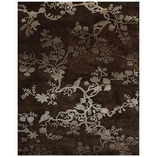 """Grand Bazaar Hand-knotted 100-percent Wool Pile Bodhi Rug in Chocolate 8'-6"""" x 11'-6"""" - 8'6"""" x 11'6"""""""