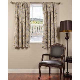 Exclusive Fabrics Soliel Yellow/ Grey 63-inch Blackout Curtain Panel Pair
