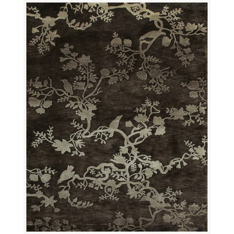 """Grand Bazaar Hand-knotted 100-percent Wool Pile Bodhi Rug in Charcoal 8'-6"""" x 11'-6"""" - 8'6"""" x 11'6"""""""