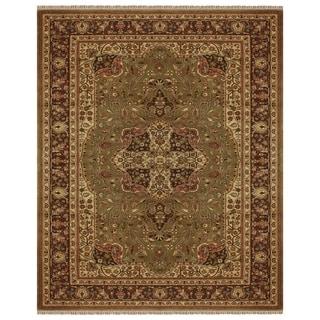 "Grand Bazaar Hand-knotted 100-percent Wool Pile Bradford Rug in Sage/Brown 5'-6"" x 8'-6"""