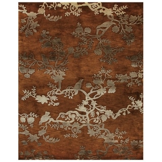 """Grand Bazaar Hand-knotted 100-percent Wool Pile Bodhi Rug in Rust 5'-6"""" x 8'-6"""" - 5'6"""" x 8'6"""""""