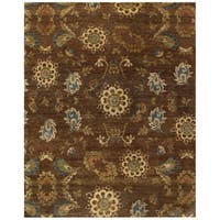 Grand Bazaar Hand-knotted 100-percent Wool Pile Amzad Area Rug in Brown (7'9 x 9'9)