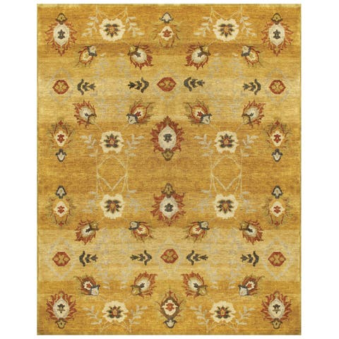 """Grand Bazaar Hand-knotted 100-percent Wool Pile Amzad Rug in Gold 5'-6"""" x 8'-6"""" - 5'6"""" x 8'6"""""""
