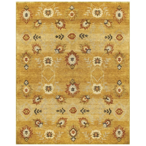 """Grand Bazaar Hand-knotted 100-percent Wool Pile Amzad Rug in Gold 7'-9"""" x 9'-9"""" - 7'9"""" x 9'9"""""""