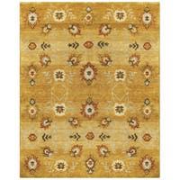 "Grand Bazaar Hand-knotted 100-percent Wool Pile Amzad Rug in Gold 7'-9"" x 9'-9"" - 7'9"" x 9'9"""