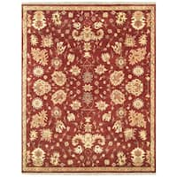 """Grand Bazaar Hand-knotted 100-percent Wool Pile Antolya Rug in Red 7'-9"""" x 9'-9"""" - 7'-9"""" x 9'-9"""""""