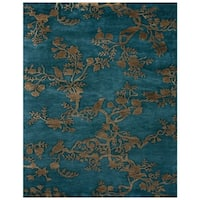 """Grand Bazaar Hand-knotted 100-percent Wool Pile Bodhi Rug in Azure 7'-9"""" x 9'-9"""" - 7'-9"""" x 9'-9"""""""
