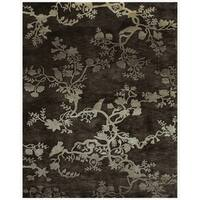 "Grand Bazaar Hand-knotted 100-percent Wool Pile Bodhi Rug in Charcoal 7'-9"" x 9'-9"" - 7'-9"" x 9'-9"""
