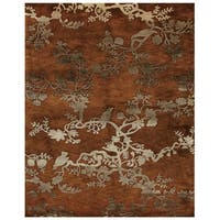 "Grand Bazaar Hand-knotted 100-percent Wool Pile Bodhi Rug in Rust 7'-9"" x 9'-9"" - 7'-9"" x 9'-9"""