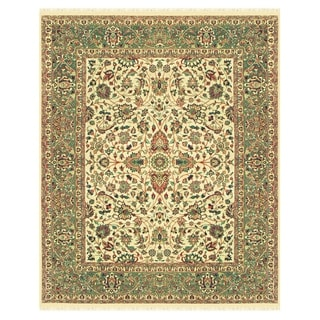 "Grand Bazaar Hand-knotted 100-percent Wool Pile Bradford Rug in Beige/Sage 5'-6"" x 8'-6"""