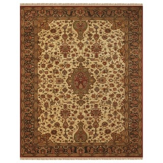 "Grand Bazaar Hand-knotted 100-percent Wool Pile Bradford Rug in Cream/Charcoal 5'-6"" x 8'-6"""
