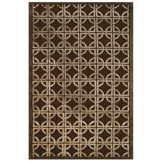 "Grand Bazaar Hand-knotted Wool & Viscose Dim Sum Rug in Chocolate 5'-6"" x 8'-6"" - 5'6"" x 8'6"""