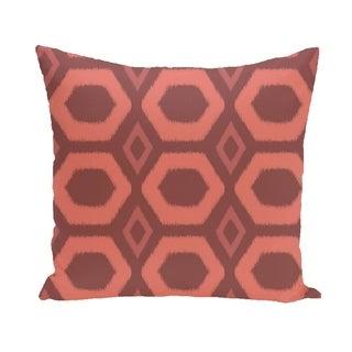 Bold Geometric Honeycomb 16-inch Decorative Pillow (Rust)