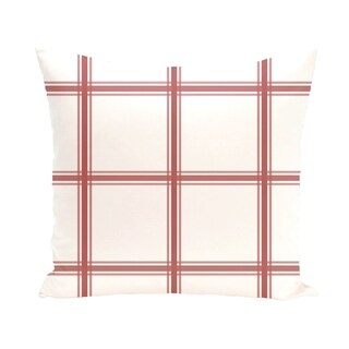 Simple Geometric Plaid 18-inch Decorative Pillow (Coral)