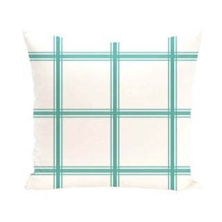 Simple Geometric Plaid 18-inch Decorative Pillow (Aqua)