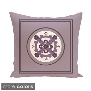 Bordered Geometric Floral 18-inch Decorative Pillow