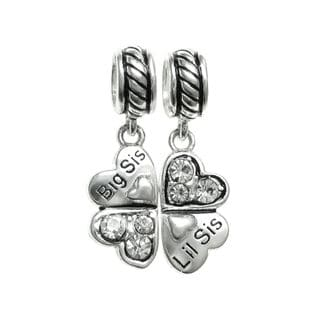 Queenberry Sterling Silver Cubic Zirconia 'Big Sis Little Sis' Heart Clover Dangle Charm