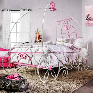 Furniture of America Princess Fantasy Carriage-Inspired Twin Metal Bed