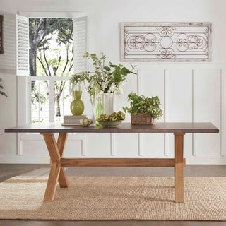 SIGNAL HILLS Aberdeen Industrial Zinc Top Weathered Oak Trestle Dining Table