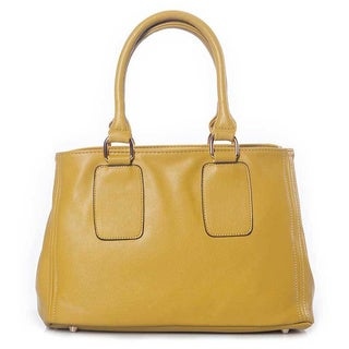 Pearlized Yellow Leatherette Bowler Bag