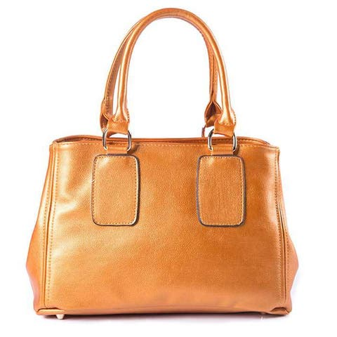 Pearlized Orange Leatherette Bowler Bag